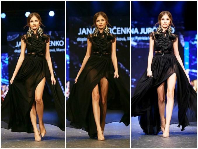 Tento model předvedla Jana na Bratislavských módních dnech. Foto: Facebook J. Jurčenko.