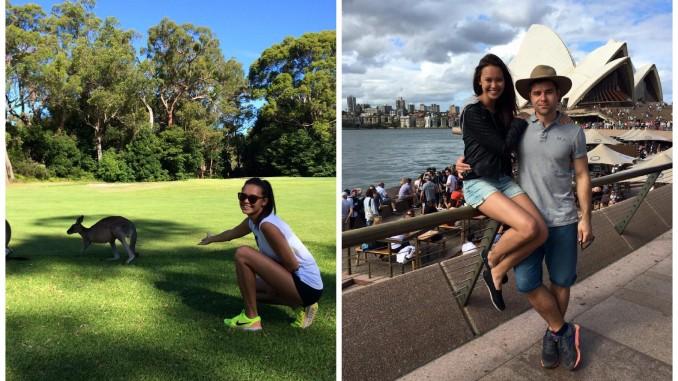 Monika s klokany a se snoubencem na výletě v Sydney (v pozadí s legendární budovou opery). Foto (2x): Instagram M. Leové.