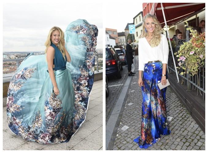 Natálie Kotková, vlevo v šatech na Miss World a vpravo v šatech, které zvolila na finále Muž roku. Foto: Michaela Feuereislová.