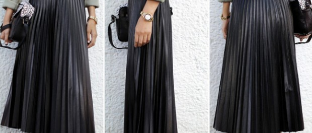 2015-Spring-Europe-and-US-PU-pleated-long-font-b-maxi-b-font-font-b-leather