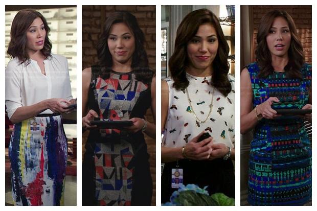 Michaela Conlin coby Angela Montenegro obléká barevné věci se vzory.