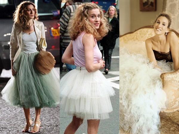Carrie Bradshaw v podání Sarah Jessicy Parker a její tutu sukně.