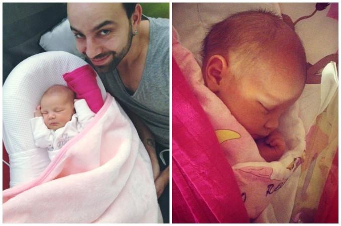Jitčin manžel Lukáš s jejich novorozenou dcerou Rosalií. Foto: Facebook J. Boho.