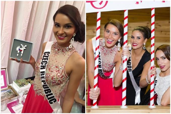 Nikol si během dražby užila i spoustu legrace. Foto: Facebook N. Švantnerové (vlevo) a Miss Universe 2015 (vpravo).