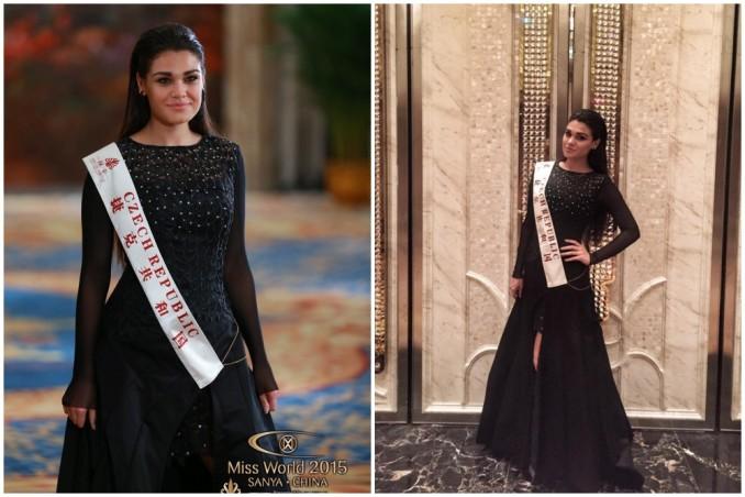 Andrea behěm módní show v šatech od Beaty Rajské. Foto: Miss World 2015 (vlevo); Facebook A. Kalousové (vpravo).