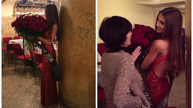 Modelka na maturitním plese zazářila v rubínových šatech. Foto (2x): Instagram N. Myslíkové.