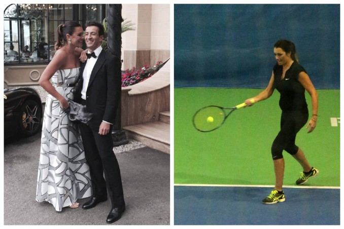 Modelka s přítelem (vlevo) a během hry tenisu s bříškem. Foto: Reuters.