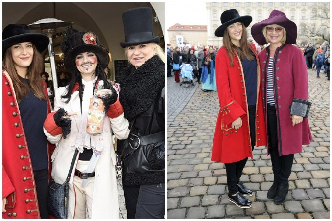 Katka na fotografii s Veronikou Blažkovou a Miladou Karasovou (vlevo) a s herečkou Janou Paulovou (vpravo). Foto: Praha 1.