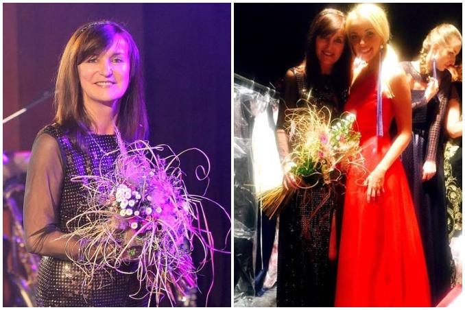 Návrhářka si odnesla také květinu. Vpravo na fotografii s Lucií Špakovou. Foto: Libor Plíhal (vlevo); Facebook B. Rajské (vpravo).