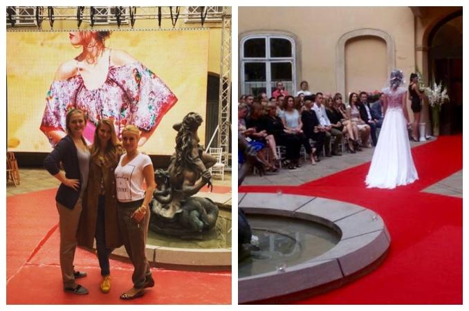 Modelky procházely okolo fontány. Foto: Facebook J. Klett.