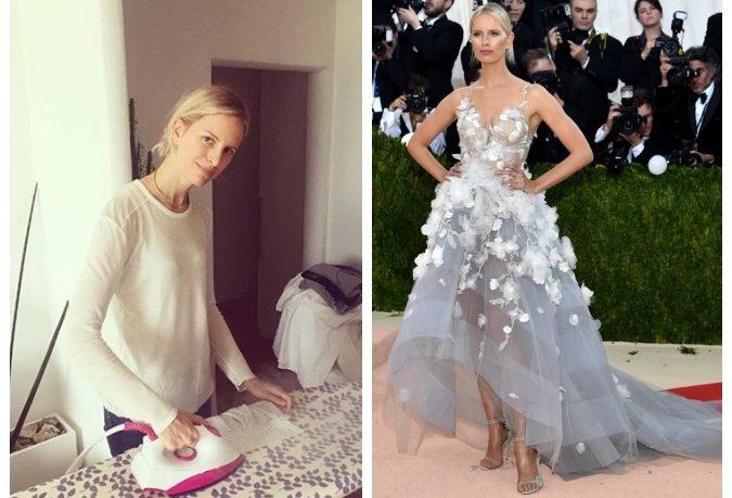 Karolína jako žena v domácnosti (vlevo) a jako úspěšná topmodelka na Met Gala 2016 (vpravo). Foto: Instagram K. Kurkové; JustJared.