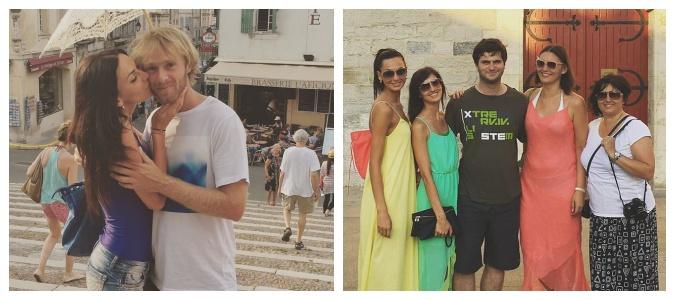 Eliška s přítelem (vlevo) a s rodinou (vpravo). Foto: Instagram E. Bučkové.
