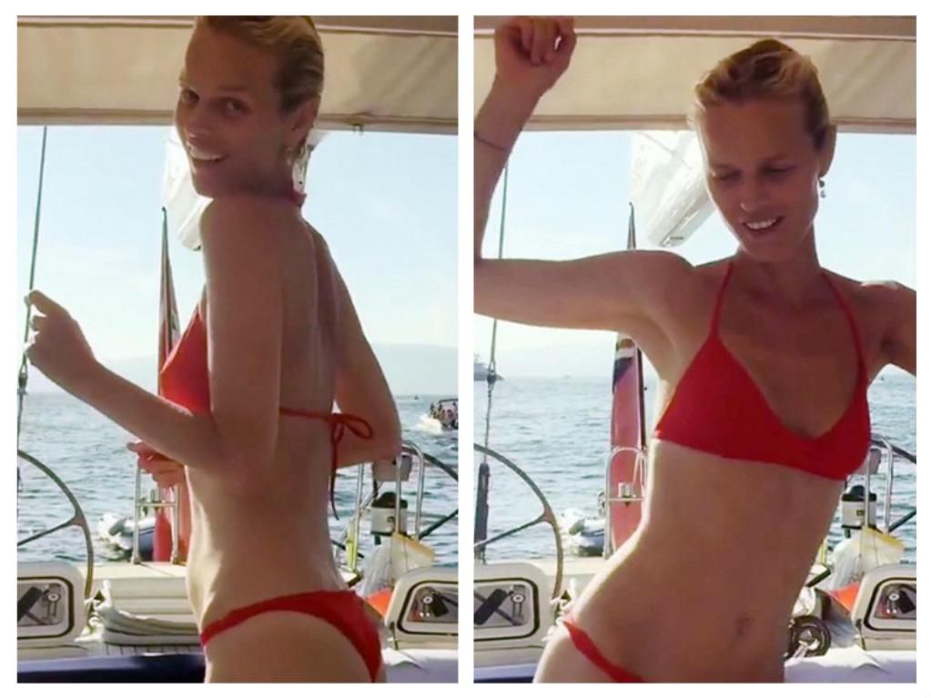 Eva na jachtě během letní dovolené, zdroj: Instagram E. Herzigové
